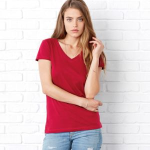 +CANVAS Ladies' Jersey Short-Sleeve V-Neck Tee Thumbnail