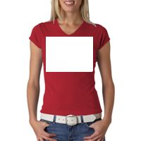+Canvas Ladies' Baby Rib Short-Sleeve V-Neck Tee Thumbnail
